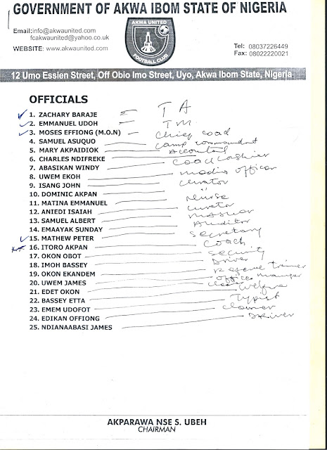 Akwa United Saga:The official list of 34 players submitted by Akparawa Nse Ubeh