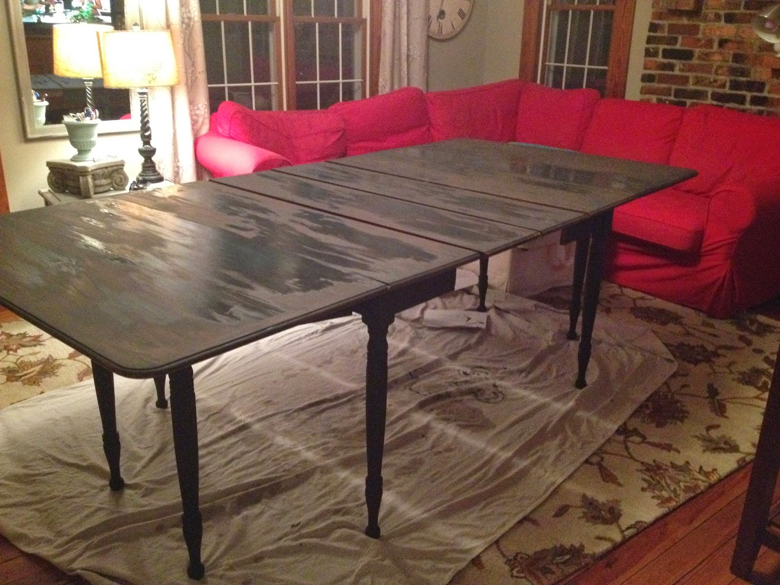 dining table redo redo kitchen table I flipped this large table numerous times to get the legs and apron painted