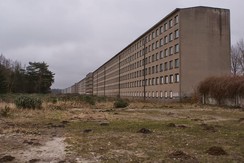 Prora the concrete complex is extend over a length of  4.5 km or 2.8 miles long and stretches like a ribbon along the beautiful sandy beaches of the East German, Ruegen Island.