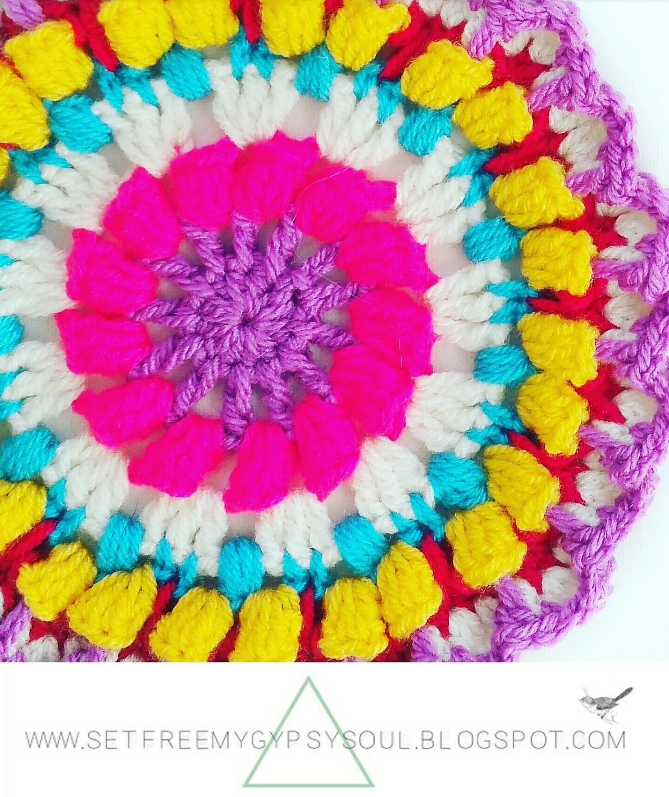 free crochet pattern mandala flower boho bohemian