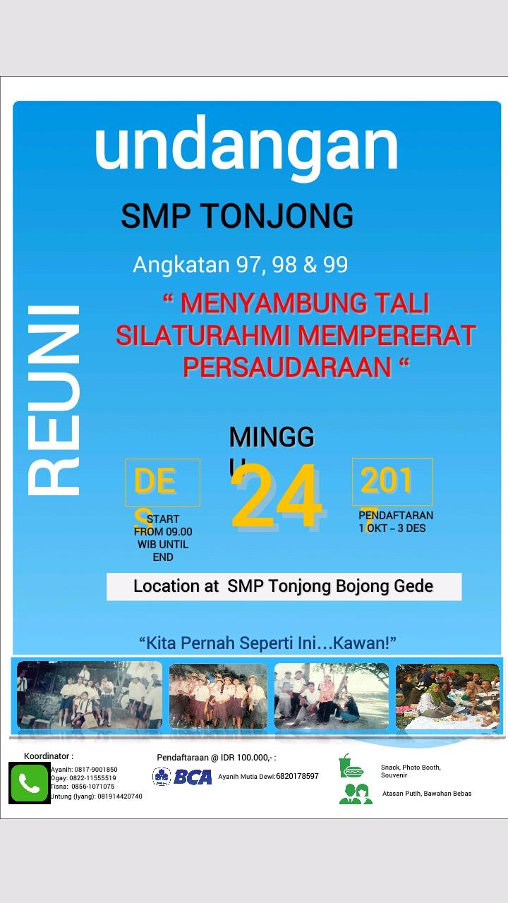 Lihat Belvost 97 Blogspot Undangan Reuni Smp Tonjong Angkatan 98 99