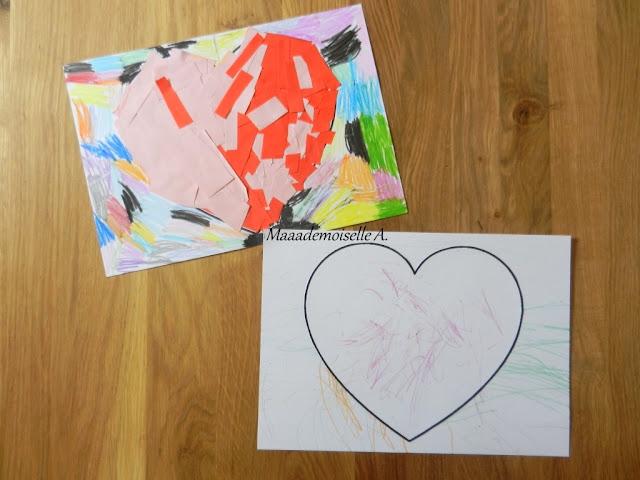 || Nos cadeaux pour la fête des pères ; Coeur en collage, coeur en coloriage