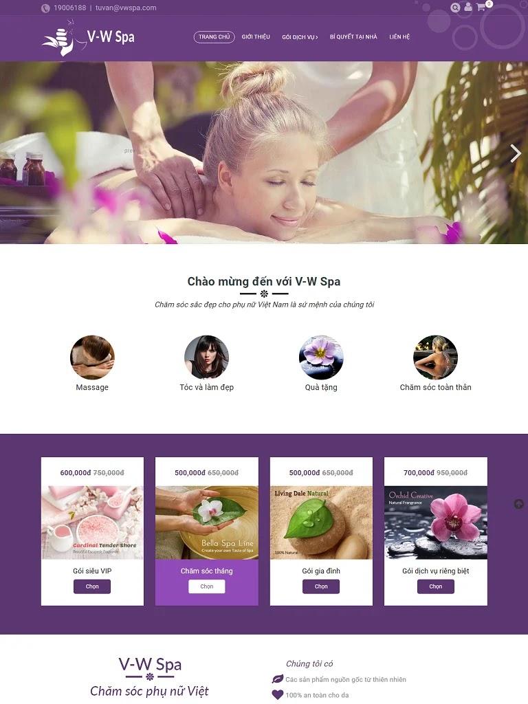 Template blogspot spa màu tím kết hợp bán hàng chuẩn seo