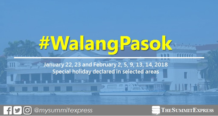 #WalangPasok: January 22, 23, February 2, 5, 9, 13, 14, 2018 special holiday