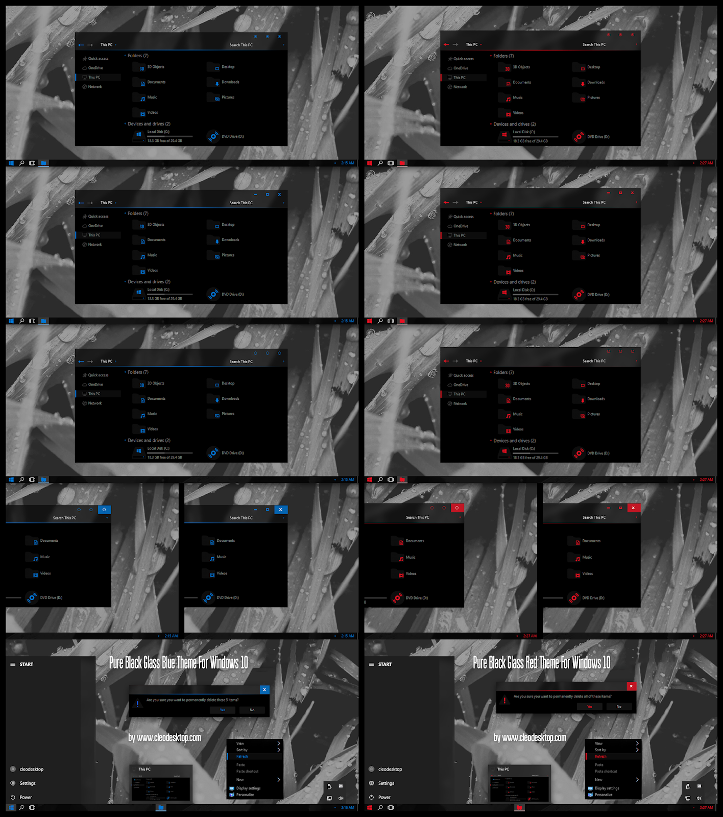 Pure Black Glass Blue and Red Theme Windows10 November 2019 Update 1909