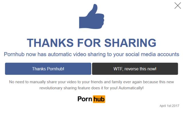pornhub social media sharing april fools joke