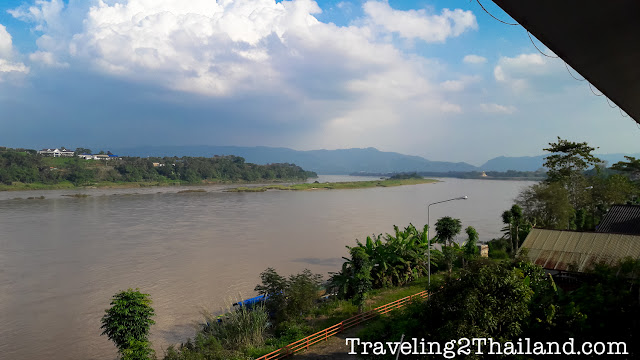 View over the Mekong River from our hotel in Chiang Khong - Thailand