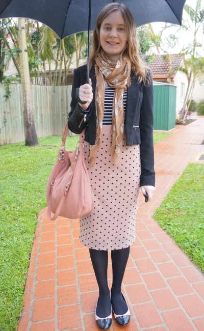 Away From Blue pink polka dot pencil skirt striped tee blazer skull scarf