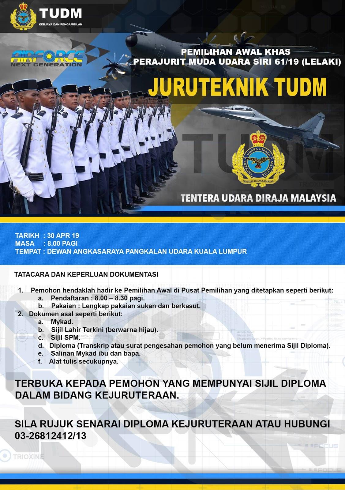 Pemilihan Khas Tentera Udara Diraja Malaysia Tudm 30 April 2019 Jawatan Kosong 2020