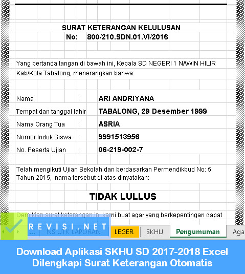Download Aplikasi Skhu Sd 2017 2018 Excel Dilengkapi Surat