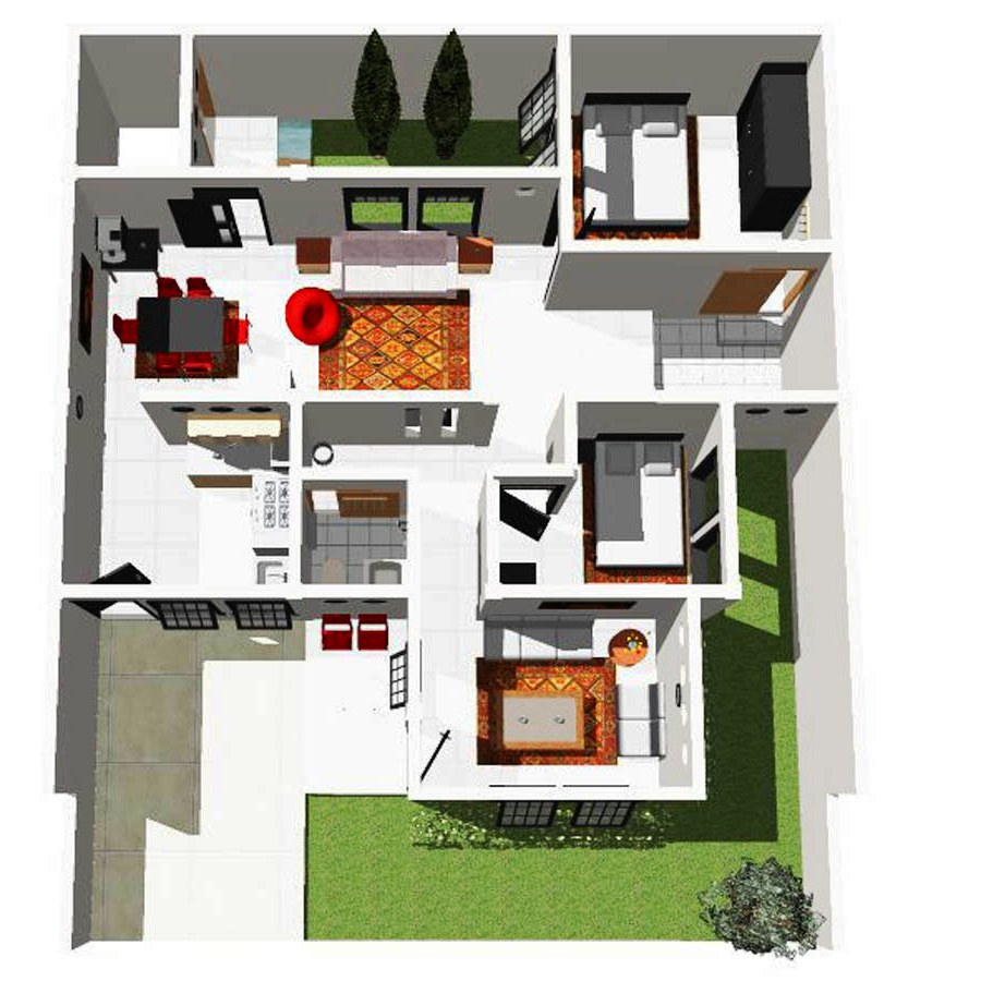 Denah Rumah Minimalis Ukuran 6x8 Modern Sederhana
