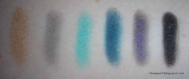 Swatches of MUA Dusk til Dawn Eyeshadow Palette: bottom row (flash)