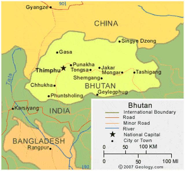 Gambar Peta Wilayah Negara Bhutan HD