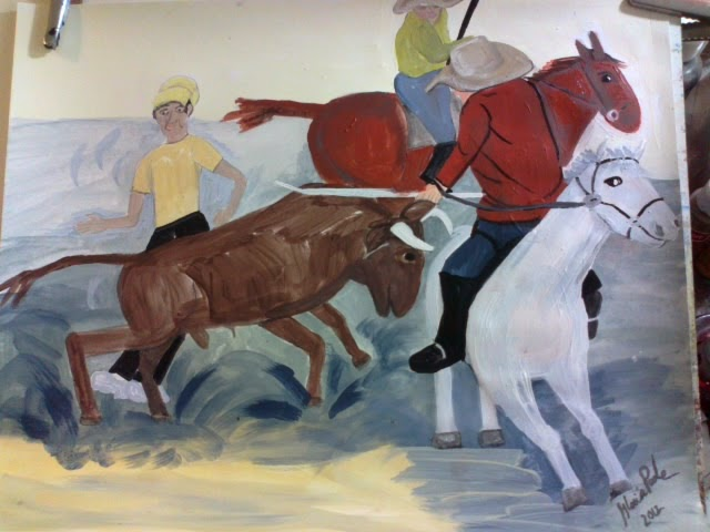 """bullfight"" sketch by Gloria Poole of Missouri; yr 2012"