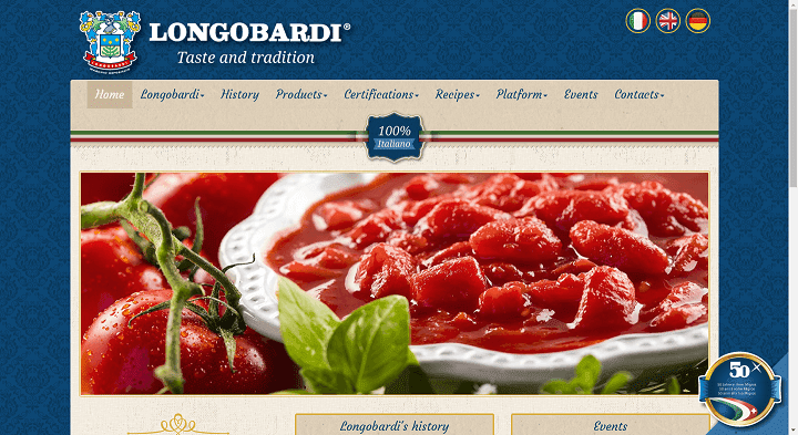 Picture to Italian food exporter company named Aniello Longobardi srl