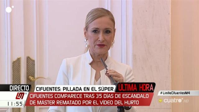 """Cristina Cifuentes: """"Me voy con la cabeza alta"""". ¡No te vas, te echan!"""