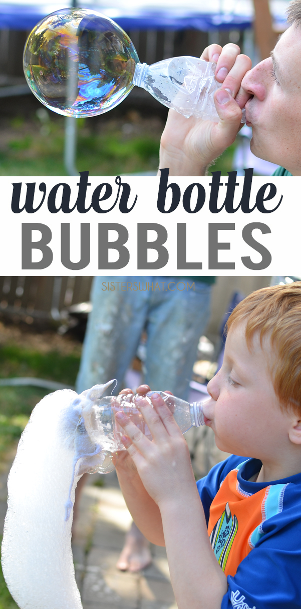 water bottle bubble boredom buster for a fun summer activity for when school is out and its a hot summer break
