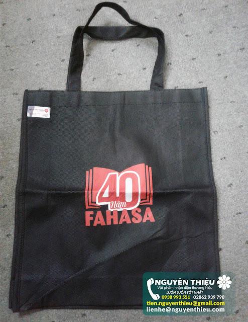 May túi vải in logo quảng cáo số lượng lớn, may túi vải theo yêu cầu