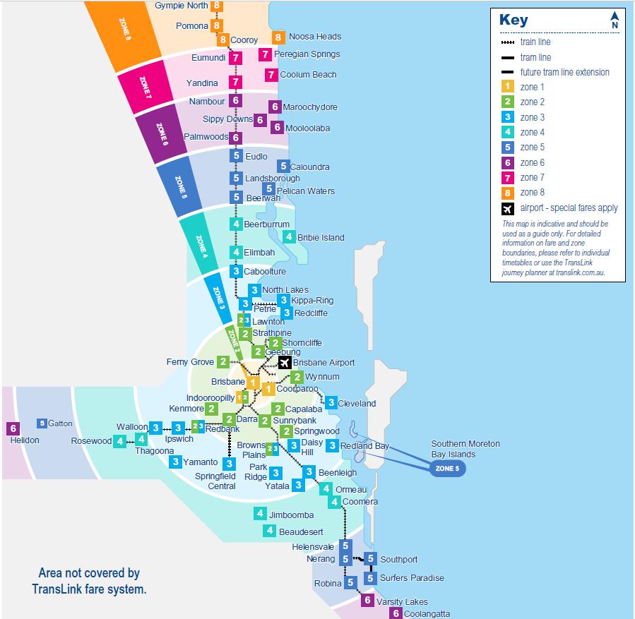 布里斯本-交通-Zone-Map-地圖-介紹-黃金海岸-巴士-公車-火車-渡輪-輕軌-Brisbane-Gold-Coast-Public-Transport