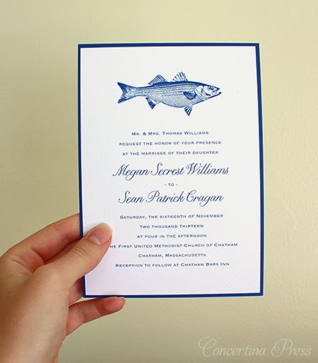 Striped Bass Invitation by Concertina Press