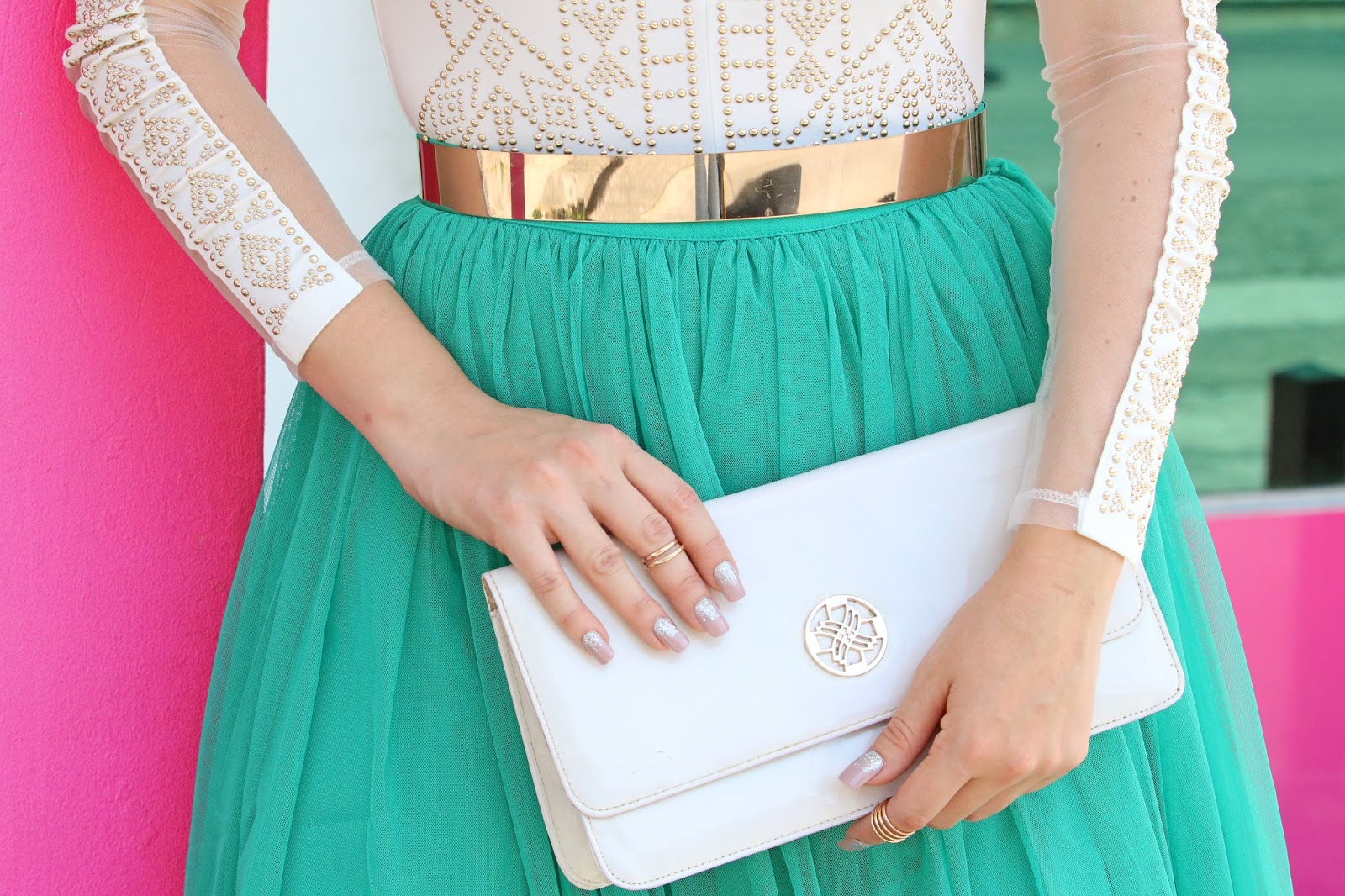 White clutches look great with just about any outfit!