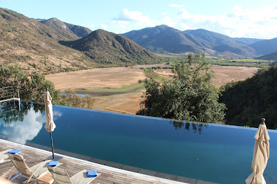 Poolside view at Vina Vik Winery, Hotel & Spa. Photograph by Janie Robinson, Travel Writer