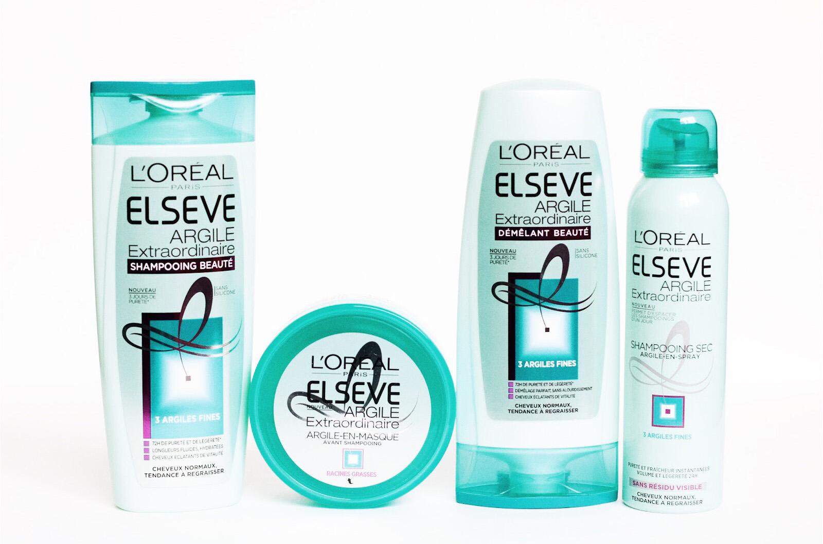 elseve gamme à l'argile shampooing après shampooing sans silicone avis test
