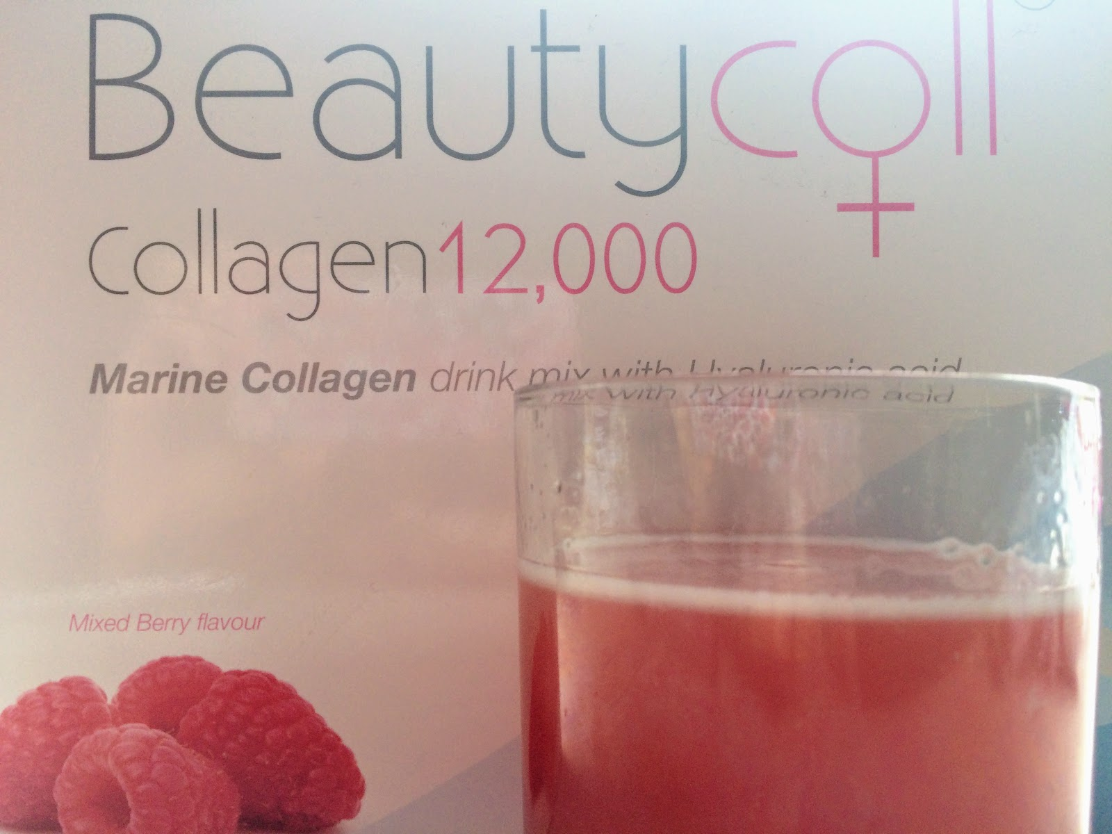 Beautycoll collagen drink drink mixed with water and front of box