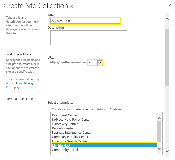 create my site host sharepoint 2016