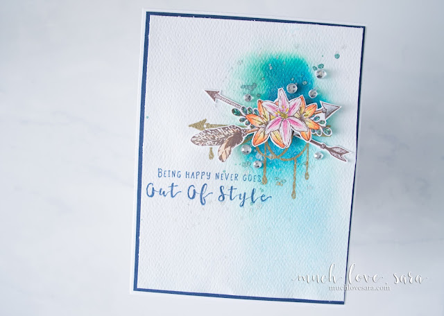 This fun any occasion card is perfect for that free spirit in your life.  The watercolor background is super easy to create.  Using Fun Stampers Journey's Happy Adventure Stamp Set.