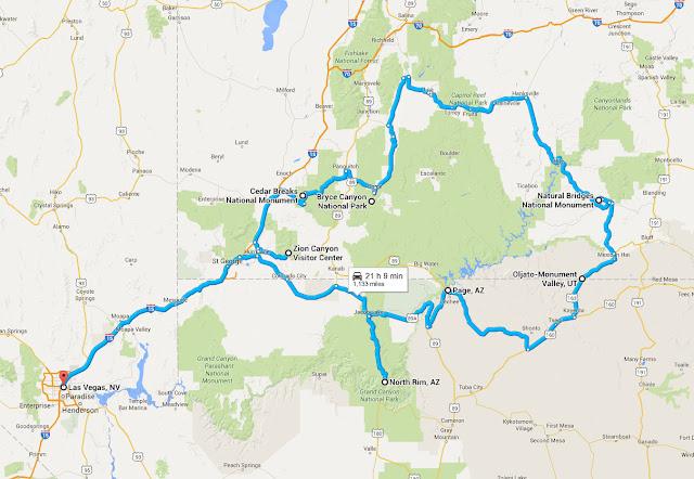Путешествие по Юте, Неваде и Аризоне - маршрут