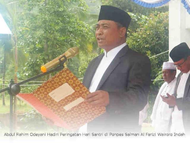 Abdul Rahim Odeyani Hadiri Peringatan Hari Santri di Ponpes Salman Al Farizi Wairoro Indah
