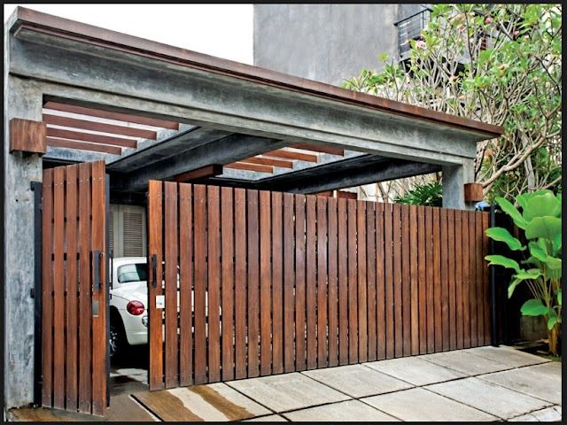 Model pagar rumah minimalis dari kayu