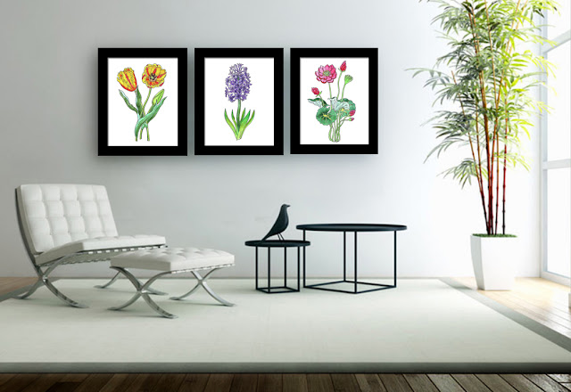 watercolour paintings in interior decor of living room