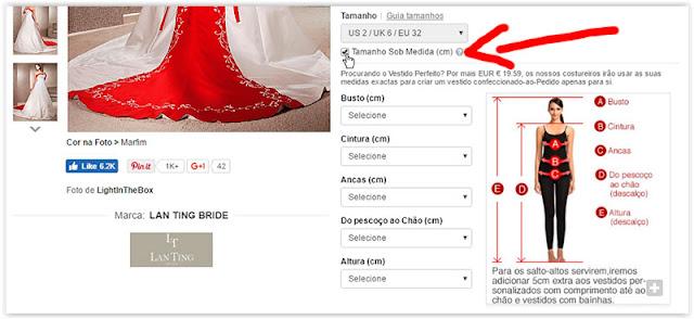 vestido de noiva tamanho personalizado