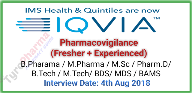 IQVIA is hiring for Pharmacovigilance (Fresher + Experienced)