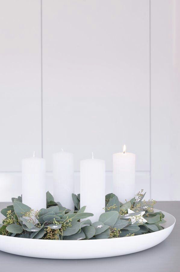 candles and eucalyptus
