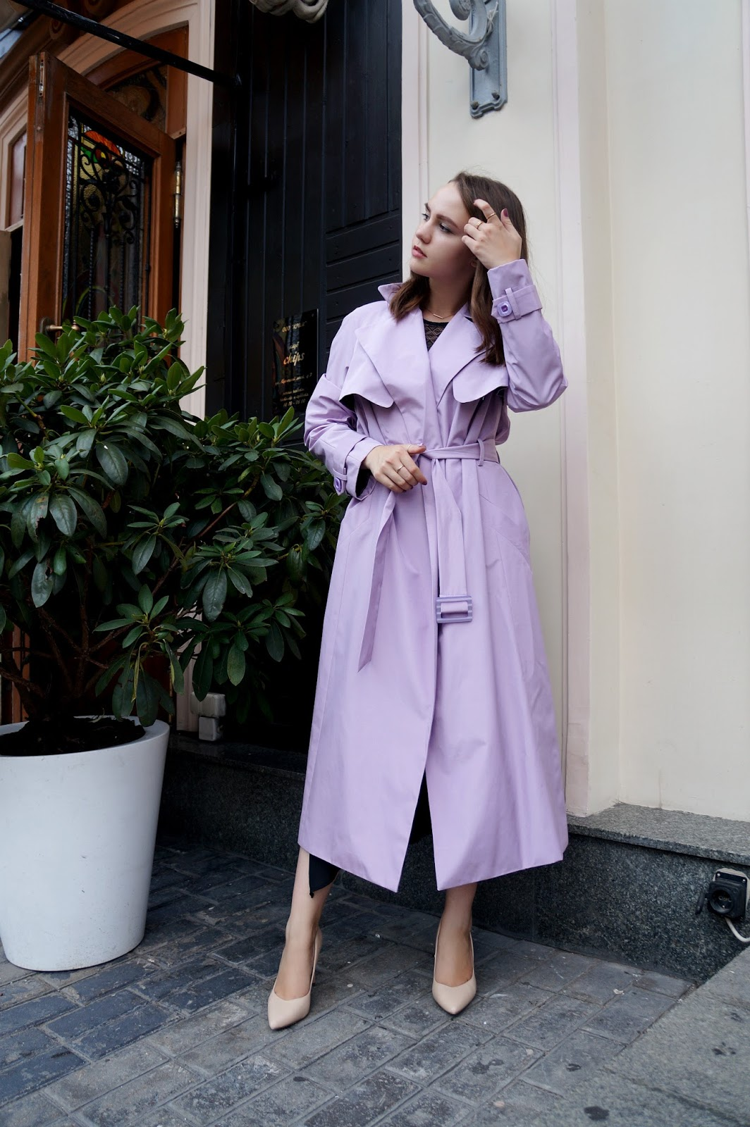 Purple Trench Coat Styling
