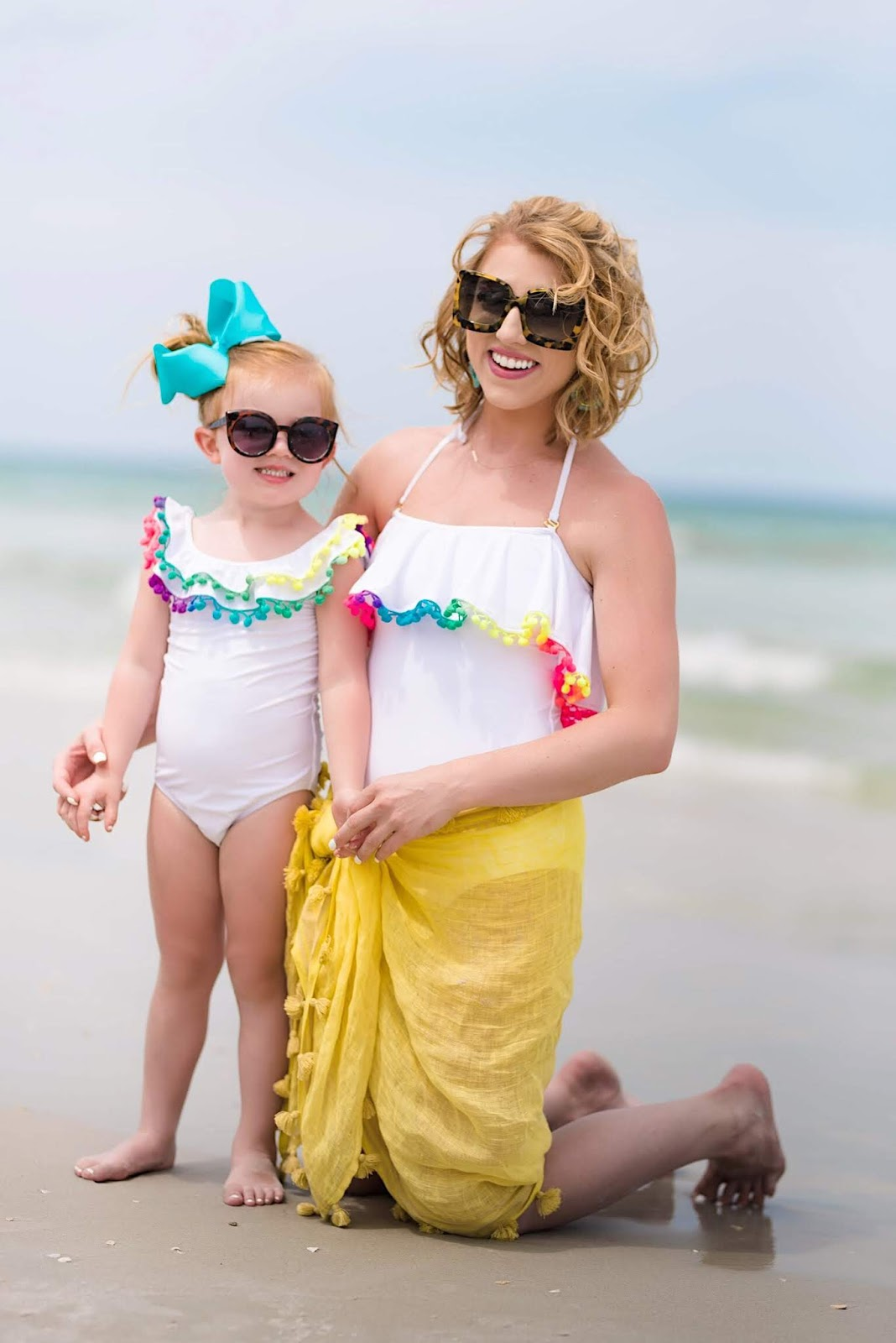 Mommy and Me Pom Pom Swimsuits - Something Delightful Blog