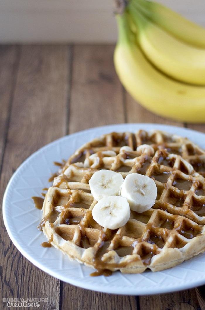 Banana Walnut Waffles With Caramel Sauce