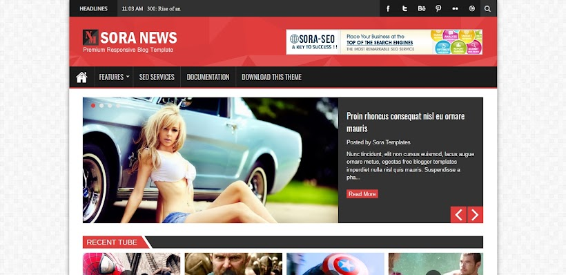 Sora News Responsive Blogger Template