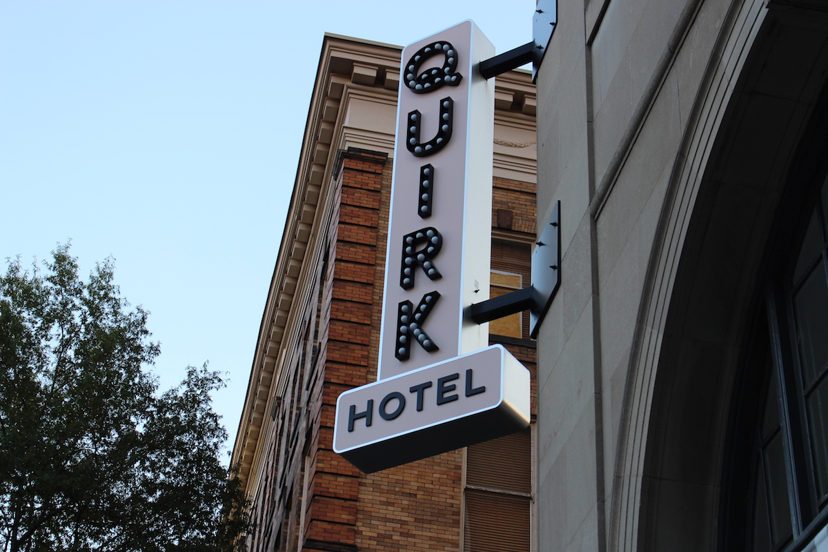 This is a close up shot of the Quirk Hotel sign in Richmond Virginia.