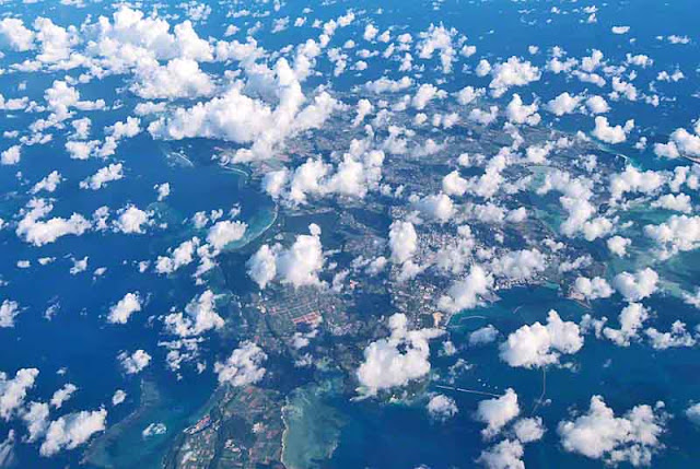clouds over unidentified island in Okinawa, jet flight