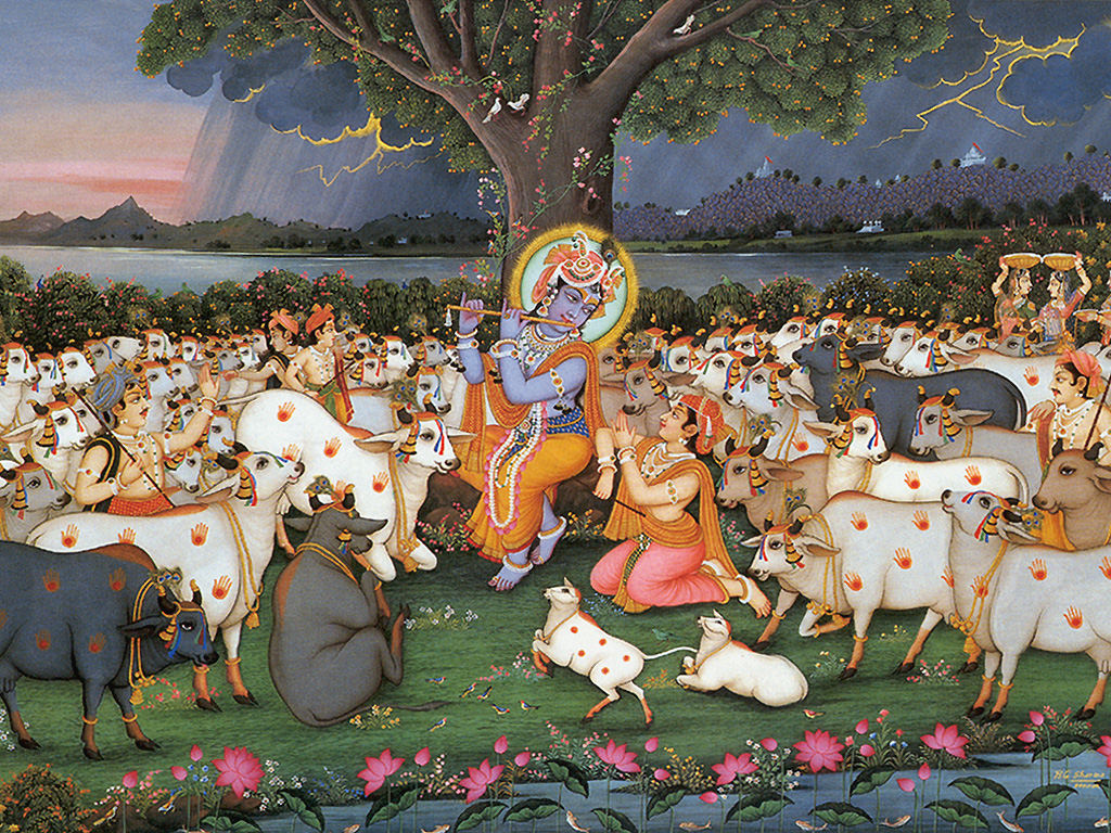 Lord Krishna With His Cow