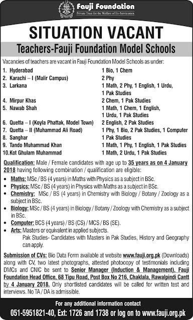 Fauji Foundation Schools Jobs in Pakistan 2018