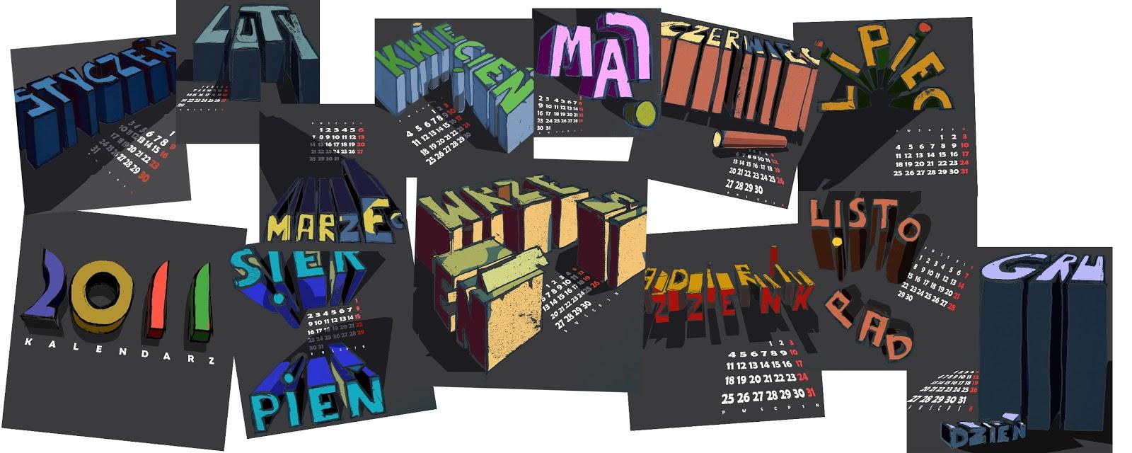kalendarz Katarzyna Urbaniak ilustracja pastelowy projekty graficzne