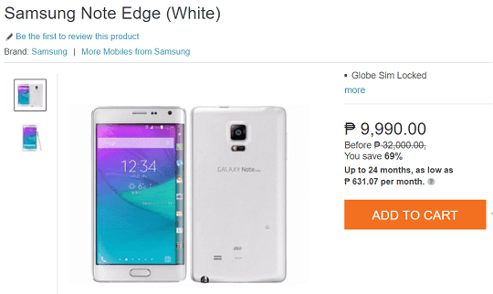 Screenshot of Samsung Galaxy Note Edge in Lazada