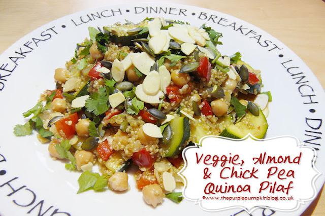 Delicious Veggie, Almond & Chickpea Quinoa Pilaf #Vegan #Vegetarian #Detox