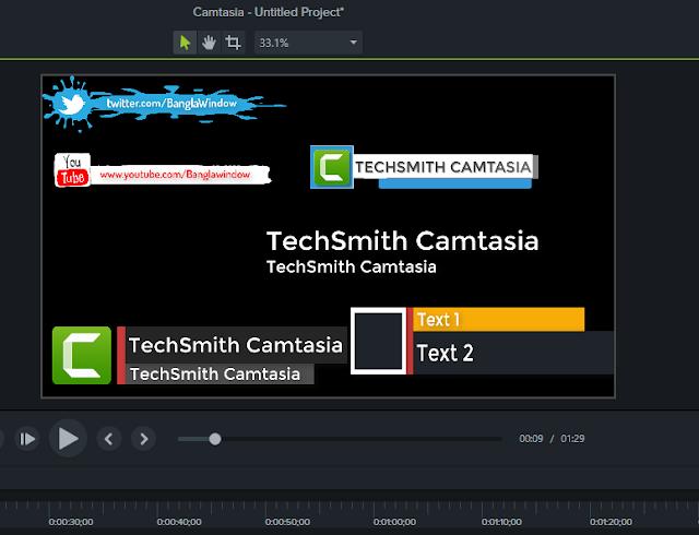 بنرات وفواصل تعريفية أحترافية camtasia studio 9 مجانا
