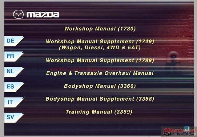 Free Automotive Manuals  Mazda 6 Full Workshop Manual Inc